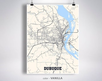 Dubuque Iowa Map Etsy