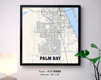 Palm Bay Florida Map.Palm Bay Florida Map Etsy