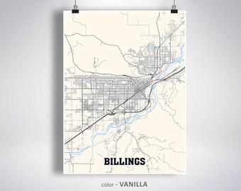 Billings map | Etsy