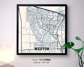 Weston Florida Map.Weston Florida Map Etsy