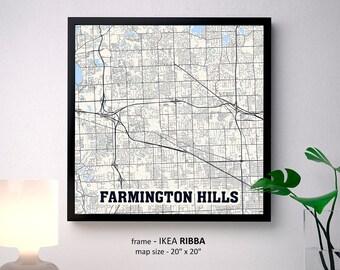 Farmington Hills Michigan Map.Farmington Mi Etsy