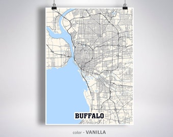 Buffalo Map Etsy