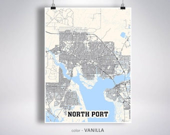 North Port Florida Map.North Port Fl Map Etsy