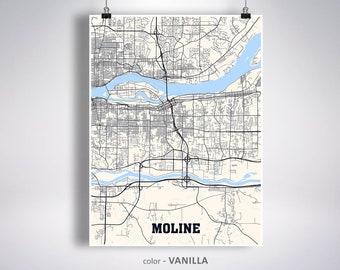 Moline Map Art Etsy