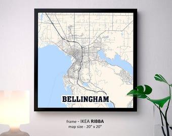 Map of bellingham | Etsy