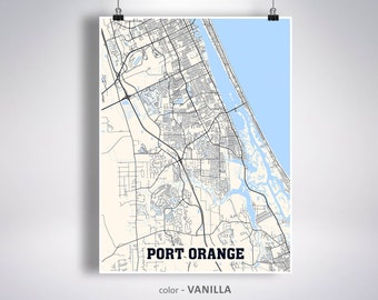 Port Orange Fl Map Etsy