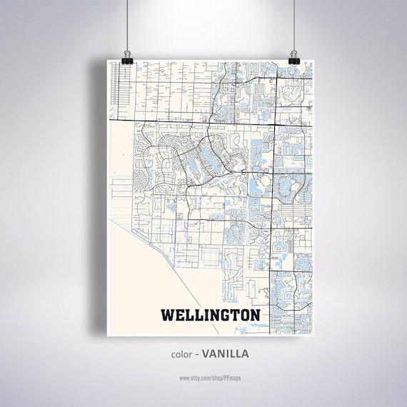 Wellington Map Print, Wellington City Map, Florida FL USA Map Poster,  Wellington Wall Art, City Street Road Map