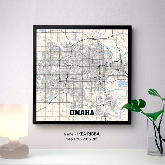 Omaha Nebraska Map Print Omaha Square Map Poster Omaha Wall Etsy