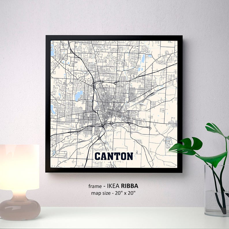 Canton Ohio Map Print Canton Square Map Poster Canton Wall Etsy