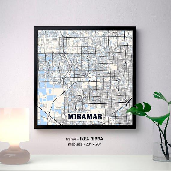 Map Of Miramar Florida.Miramar Florida Map Print Miramar Square Map Poster Miramar Etsy