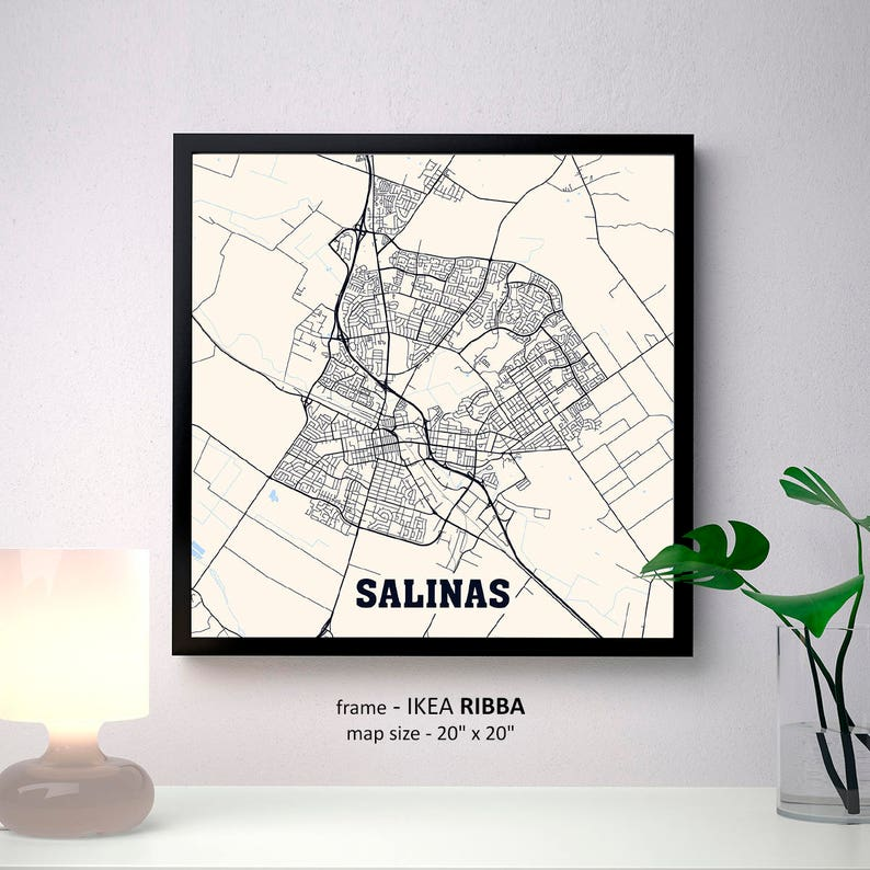 Salinas California Map Print Salinas Square Map Poster Etsy