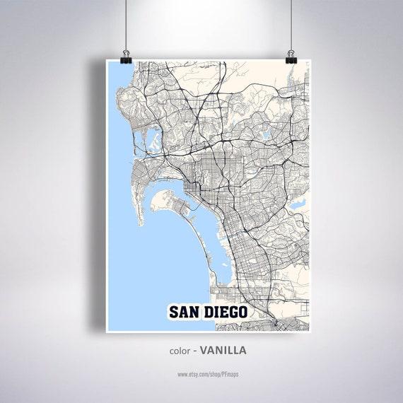 San Diego Map Print, San Diego City Map, California CA USA Map Poster, San  Diego Wall Art, City Street Road Map
