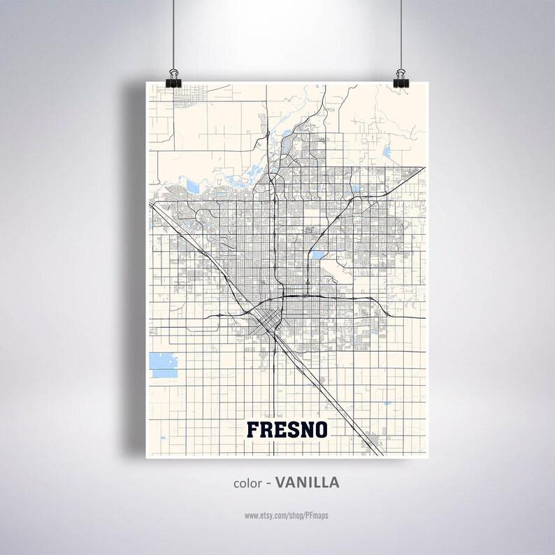 Fresno Map Print Fresno City Map Arizona AZ USA Map Poster | Etsy on