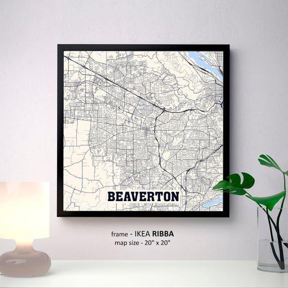 Beaverton Oregon Map Print Beaverton Square Map Poster Etsy