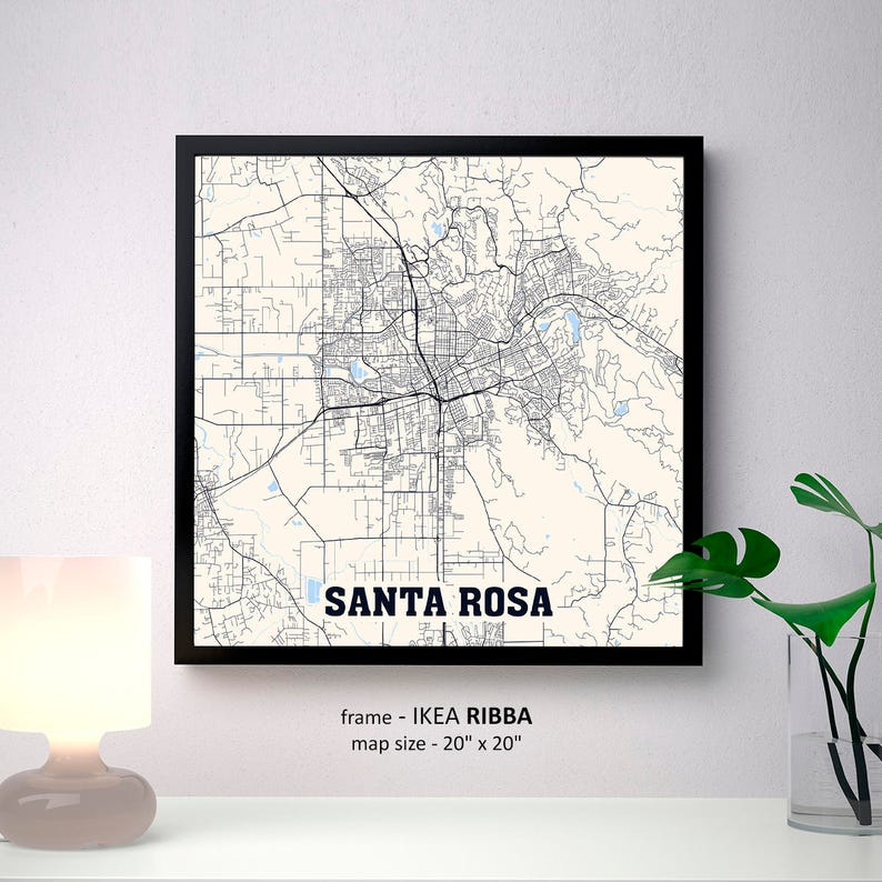 Santa Rosa California Map.Santa Rosa California Map Print Santa Rosa Square Map Poster Santa Rosa Wall Art Santa Rosa Gift Custom Personalized Map