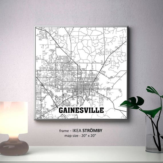 Gainesville Florida Map Print Gainesville Square Map Poster | Etsy