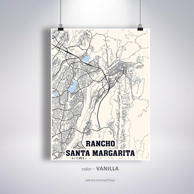 Rancho Santa Margarita California Rancho Santa Margarita print poster Rancho Santa Margarita map Rancho Santa Margarita CA map