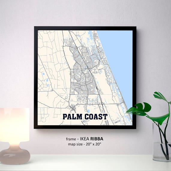 Palm Coast Florida Map.Palm Coast Florida Map Print Palm Coast Square Map Poster Etsy