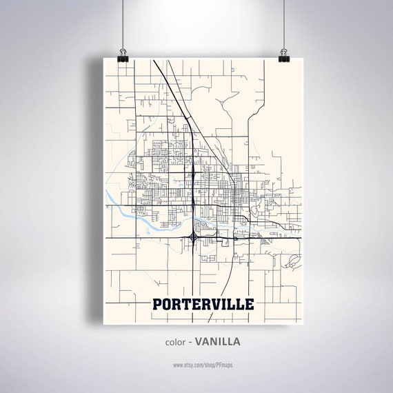 Porterville Map Print Porterville City Map California CA USA | Etsy