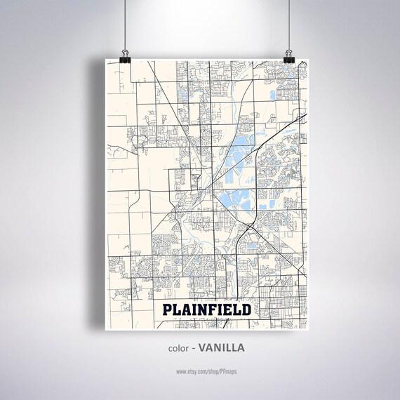 Plainfield Map Print Plainfield City Map Illinois Il Usa Map Etsy