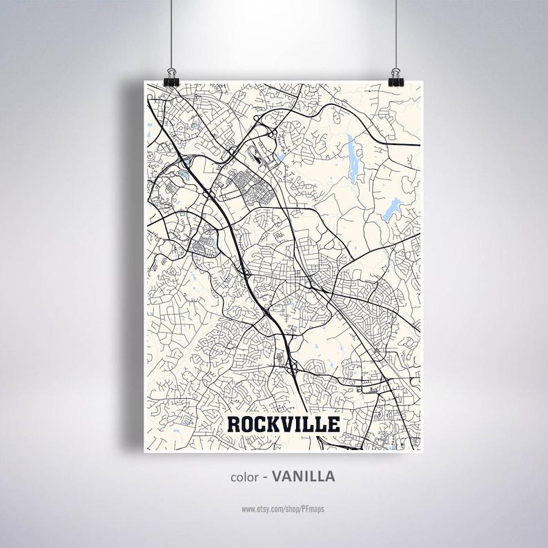 Rockville Map Print, Rockville City Map, Maryland MD USA Map Poster,  Rockville Wall Art, City Street Road Map