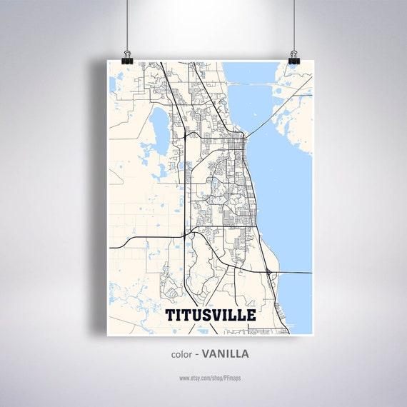 Titusville Map Print Titusville City Map Florida FL USA Map | Etsy