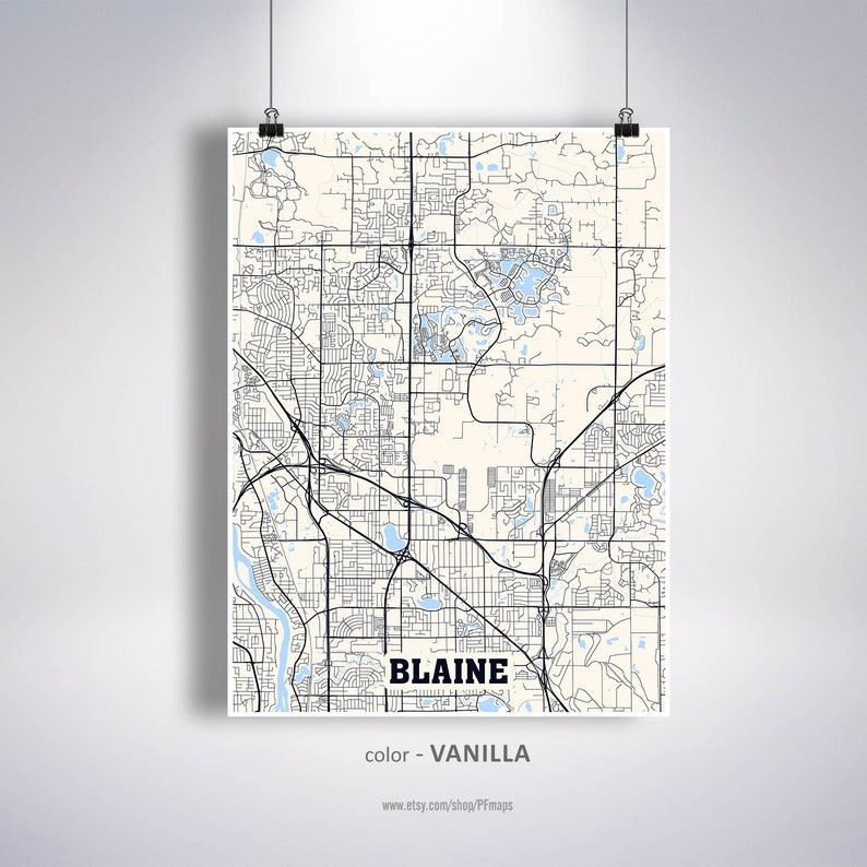 Blaine Map Print, Blaine City Map, Minnesota MN USA Map Poster, Blaine Wall  Art, City Street Road Map