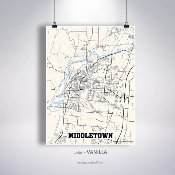 Middletown Map Print Middletown City Map Ohio Oh Usa Map Etsy