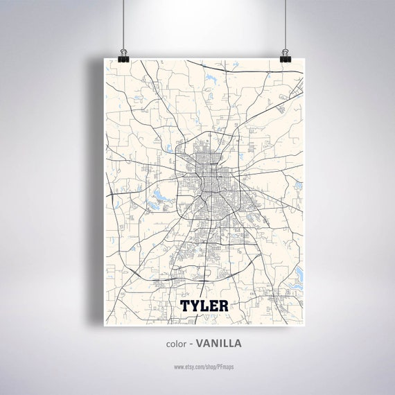 Tyler Map Print Tyler City Map Texas TX USA Map Poster | Etsy