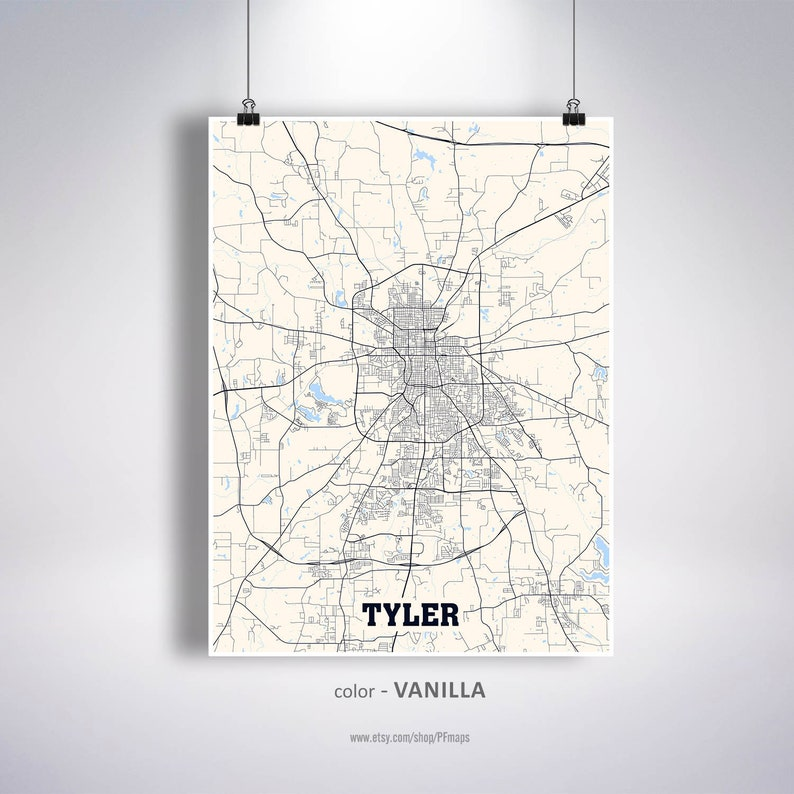 Map Of Texas Usa.Tyler Map Print Tyler City Map Texas Tx Usa Map Poster Etsy