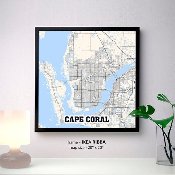 Cape Coral Florida Map.Cape Coral Florida Map Print Cape Coral Square Map Poster Etsy