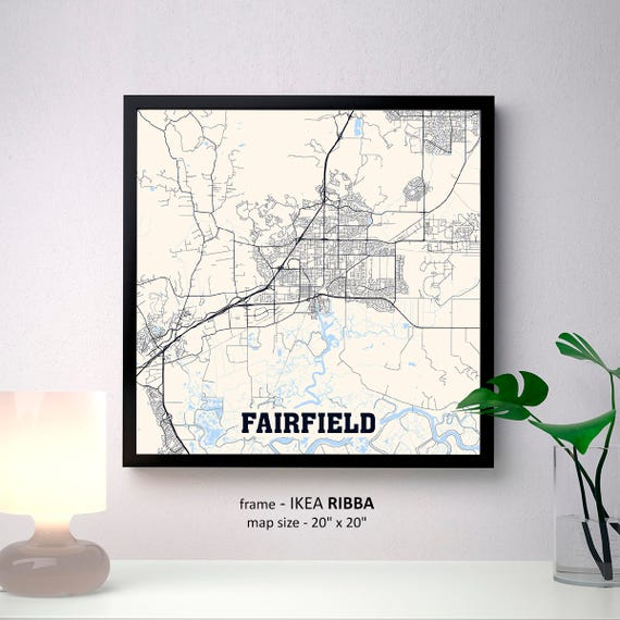 Fairfield California Map Print Fairfield Square Map Poster Etsy