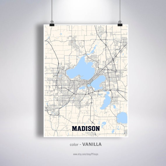Madison Map Print Madison City Map Wisconsin WI USA Map | Etsy