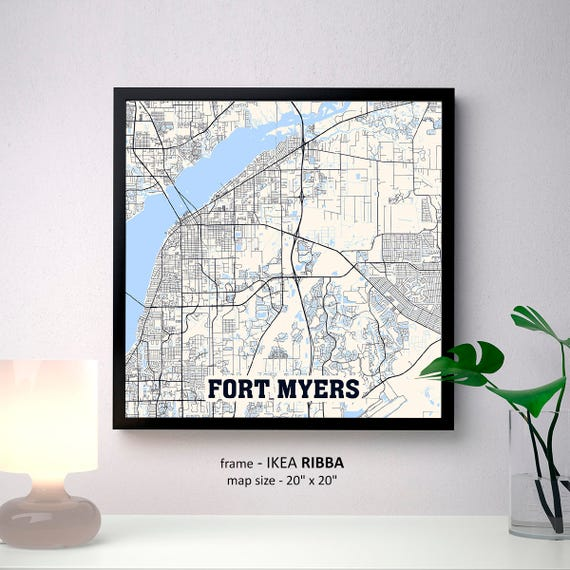 Ft Myers Florida Map.Fort Myers Florida Map Print Fort Myers Square Map Poster Etsy