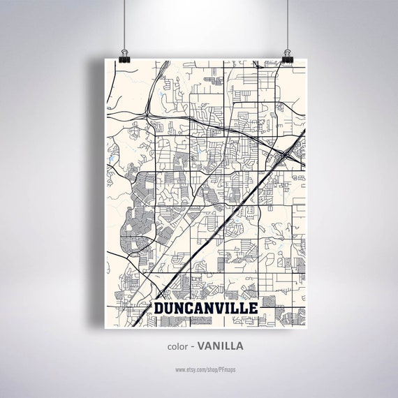 Duncanville Map Print Duncanville City Map Texas Tx Usa Map Etsy
