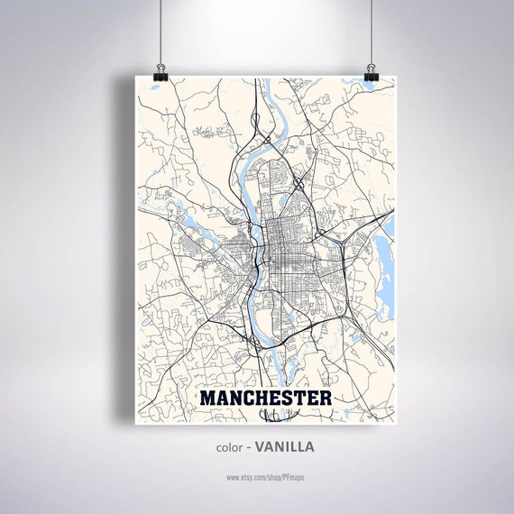 Manchester Map Print Manchester City Map New Hampshire Nh Etsy