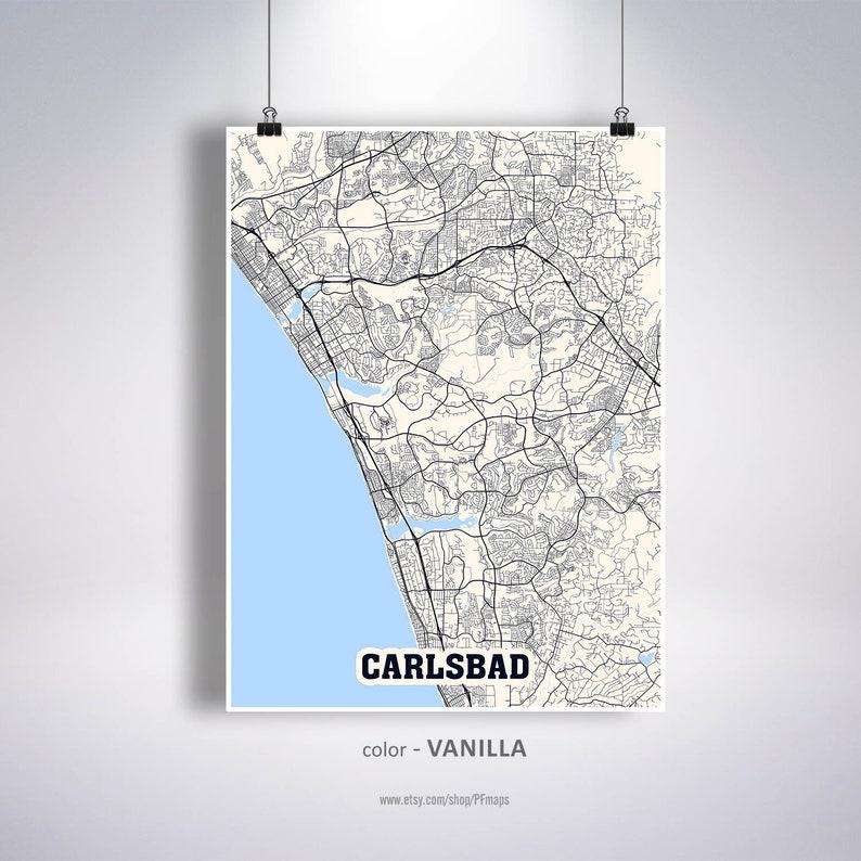 Carlsbad Map Print Carlsbad City Map California CA USA Map | Etsy on