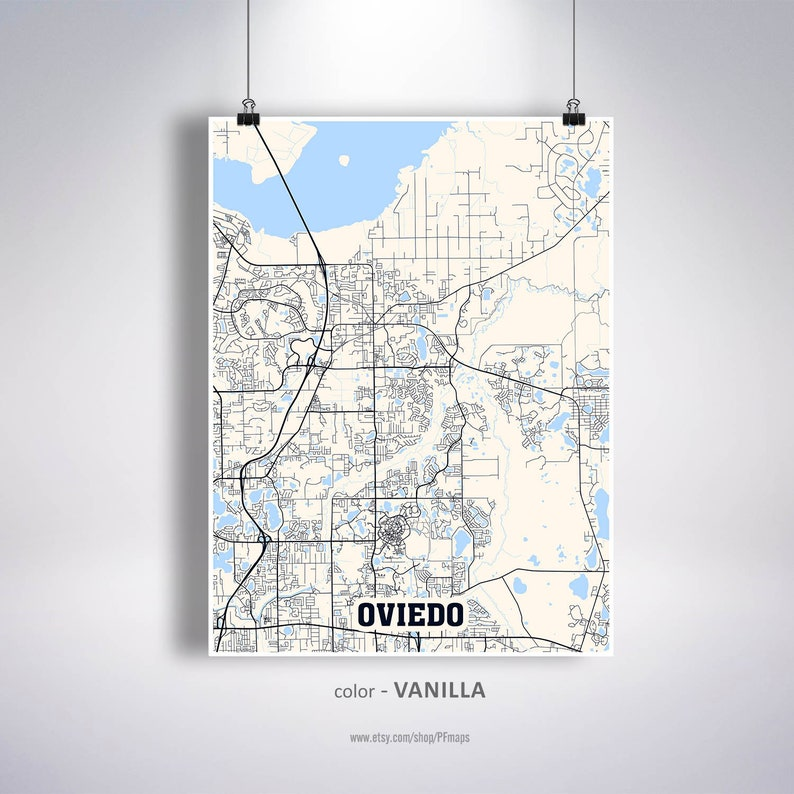 Florida On Usa Map.Oviedo Map Print Oviedo City Map Florida Fl Usa Map Poster Oviedo Wall Art City Street Road Map