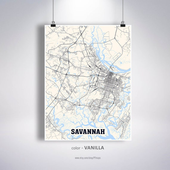 Savannah Map Print Savannah City Map Georgia Ga Usa Map Etsy