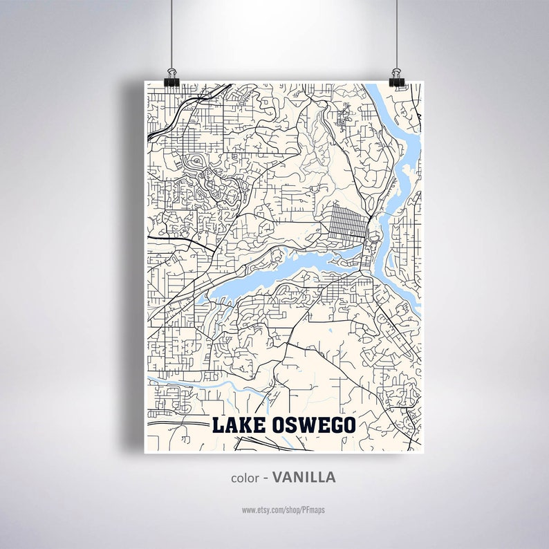 Lake Oswego Map Print Lake Oswego City Map Oregon OR USA Map image 0