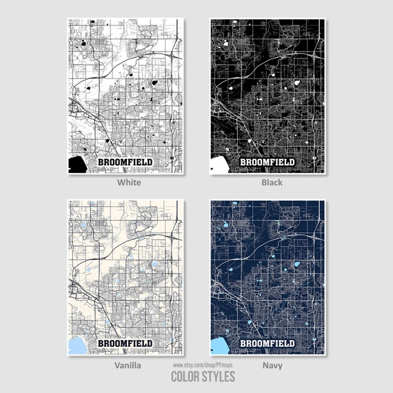 Broomfield Map Print, Broomfield City Map, Colorado CO USA Map Poster,  Broomfield Wall Art, City Street Road Map