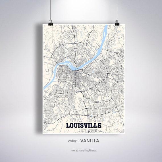 Louisville Map Print, Louisville City Map, Kentucky KY USA Map Poster,  Louisville Wall Art, City Street Road Map