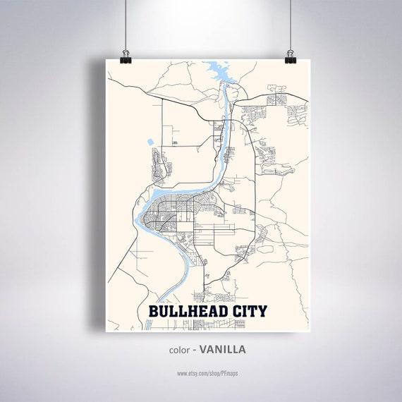Bullhead City Map Print, Bullhead City Map, Arizona AZ USA Map Poster,  Bullhead City Wall Art, City Street Road Map
