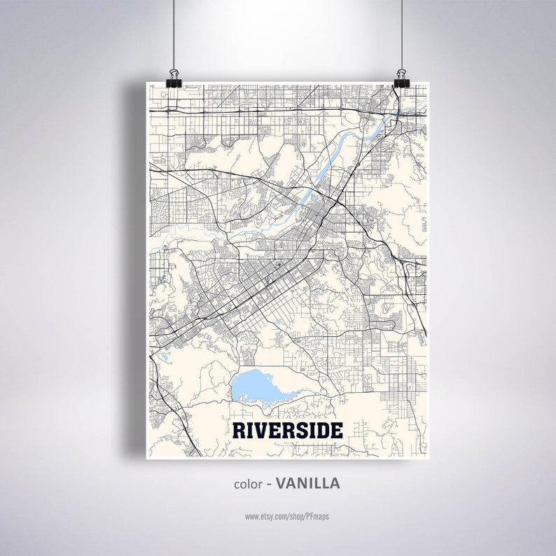 Riverside Map Print Riverside City Map California CA USA Map | Etsy