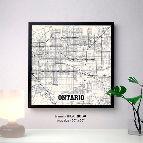 Ontario California Map Print Ontario Square Map Poster Etsy