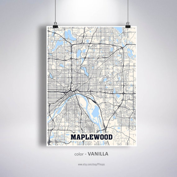 Maplewood Map Print, Maplewood City Map, Minnesota MN USA Map Poster,  Maplewood Wall Art, City Street Road Map