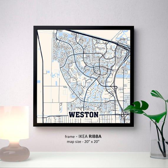 Map Of Weston Florida.Weston Florida Map Print Weston Square Map Poster Weston Etsy