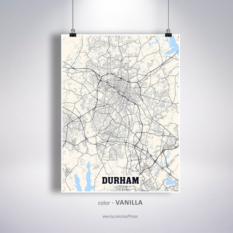 Durham Map Print Durham City Map North Carolina NC USA Map | Etsy