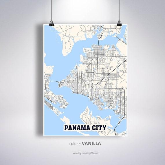 Florida In Usa Map.Panama City Map Print Panama City City Map Florida Fl Usa Map Poster Panama City Wall Art City Street Road Map