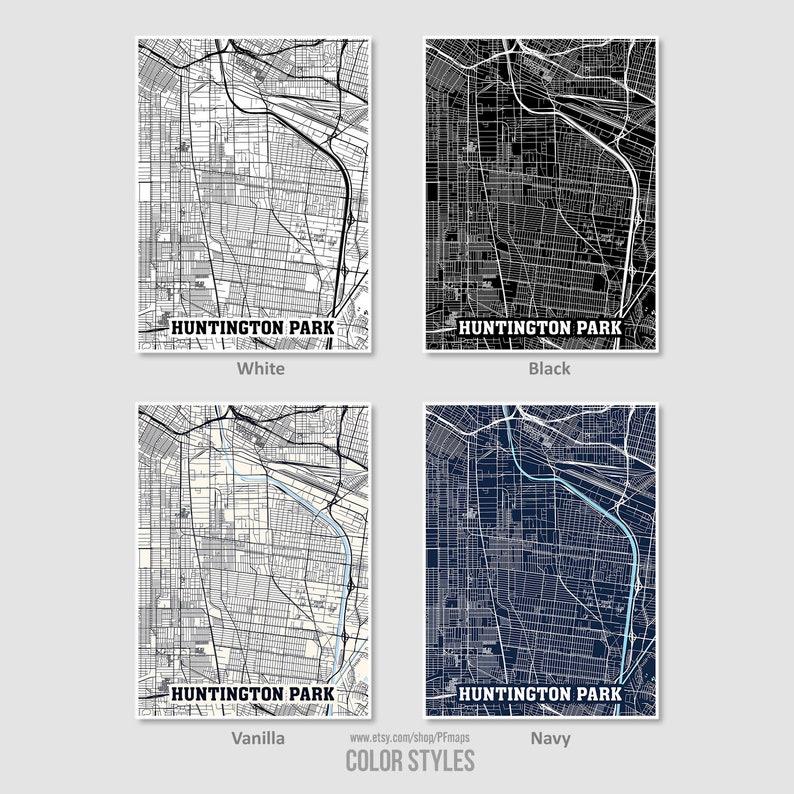 City Street Road Map Huntington Park Map Print Huntington Park City Map Huntington Park Wall Art California CA USA Map Poster